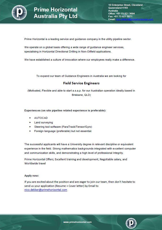 PH Aus Field Service Engineer needed - :: Prime Horizontal